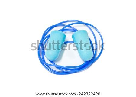 blue ear plugs on white background - stock photo