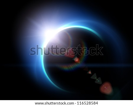 Blue earth from space - stock photo