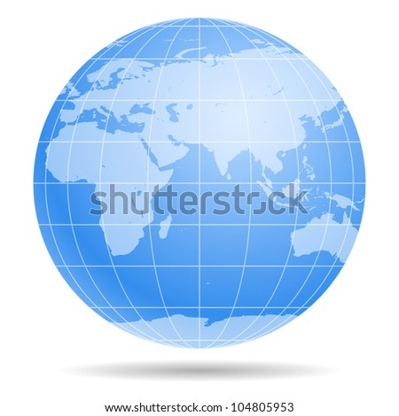 Blue Earth globe isolated on white background 1