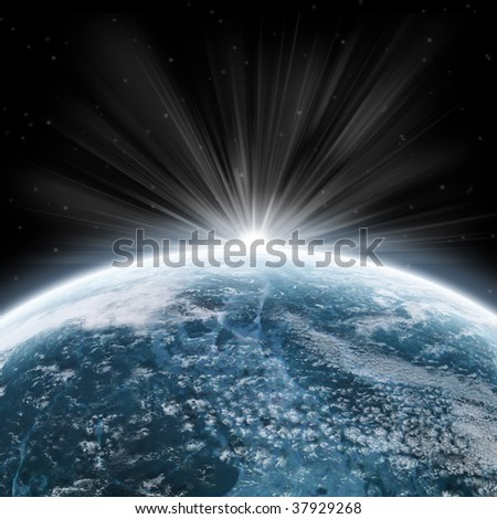 Blue earth globe - planet and universe exploration - sunrise