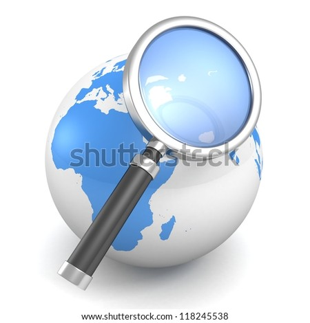 blue earth globe sphere with magnify glass - stock photo