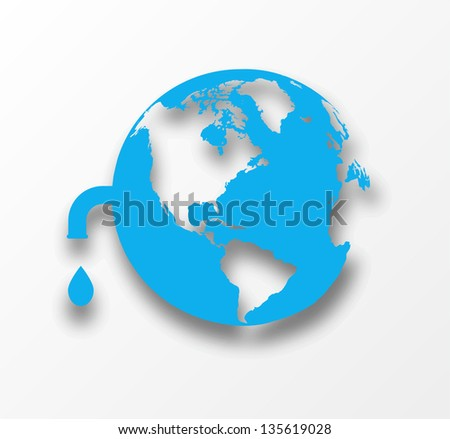 Blue earth globe with drop of water. Eco concept. Raster version. - stock photo