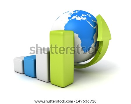 blue earth globe with grow bar chart and arrow up - stock photo