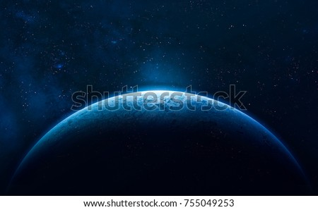 Blue Earth In The Space Colorful Art Solar System Gradient