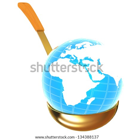 blue earth on gold soup ladle