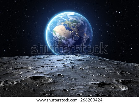 blue earth seen from the moon surface: Elements of this image are furnished by NASA - stock photo