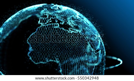 Blue earth technology, business and communications background. Earth globe rotating with plexus particles around. Room for your text and logo.