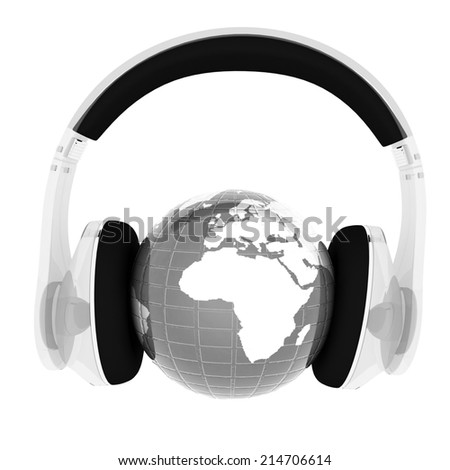 Blue earth with headphones from transparent plastic. World music concept isolated on white - stock photo