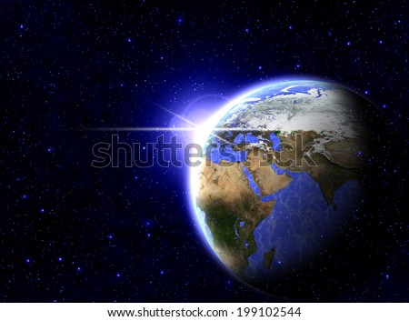 Blue earth with sun rising (Elements of this image furnished by NASA)