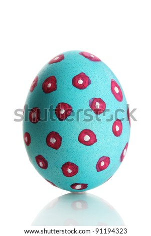 Blue Easter Egg isolated on white - stock photo