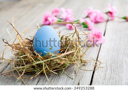 blue easter egg on wooden background - stock photo