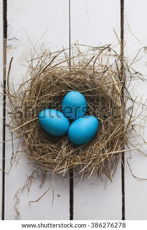 Blue Easter eggs in nest on wooden background