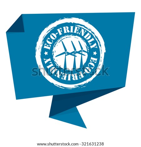 Blue Eco-Friendly Paper Origami Speech Bubble or Speech Balloon Infographics Sticker, Label, Sign or Icon Isolated on White Background - stock photo
