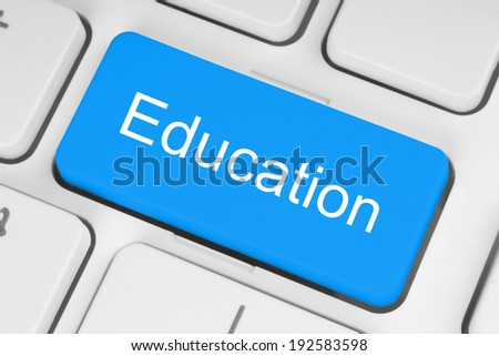 Blue education button on keyboard