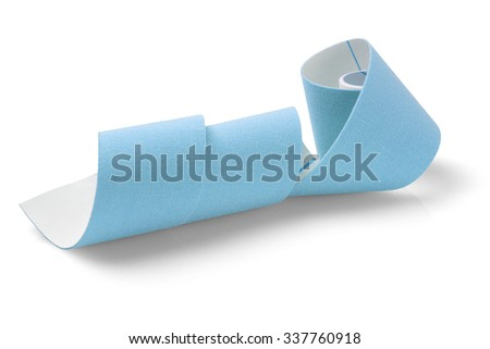 Blue Elastic Therapeutic Tape on White Background - stock photo