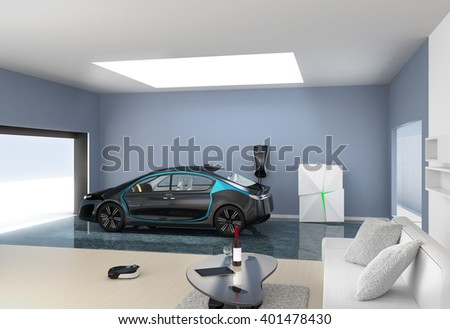 Blue electric car park into modern garage. The garage connect with living room  which show a new lifestyle with electric car. - stock photo