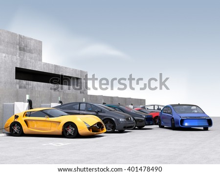 Blue electric car park into parking lot. 3D rendering image. - stock photo