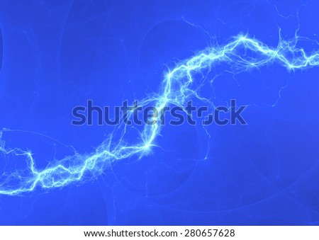 Blue electric lighting, abstract electrical background - stock photo