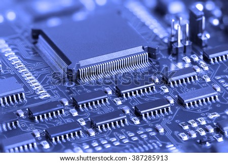 Blue Electronic Circuit board with microprocessor