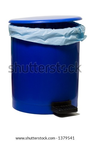 blue empty bin with a plastic bag isolated against white background - stock photo