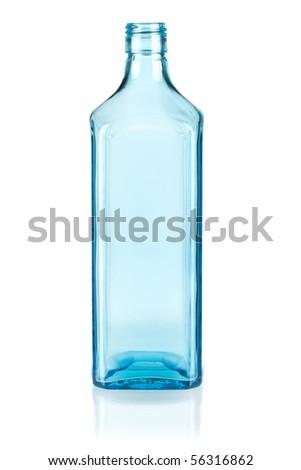 Blue empty bottle. Isolated on white background - stock photo