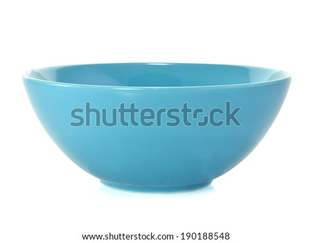 Blue empty bowl isolated on white  - stock photo
