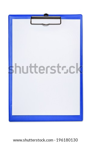 Blue empty clipboard isolated on a white background. - stock photo