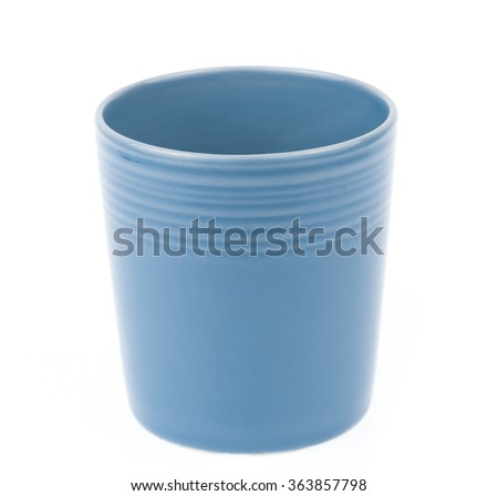 Blue empty coffee cup isolated on white background
