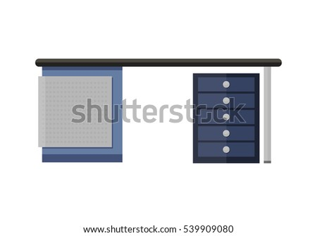 Blue empty computer desk in flat. Office empty desk for office equipment. Workstation desk. Interior office element. Isolated object on white background.  illustration.