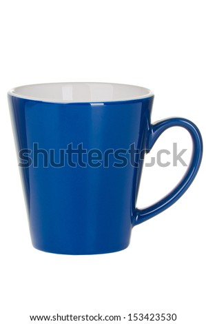 Blue empty cup of tea (coffee) isolated on white background - stock photo