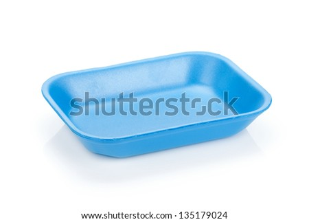 Blue empty food tray. Isolated on white background