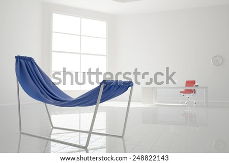 Blue empty hammock standing for relaxation in an office (3D Rendering)