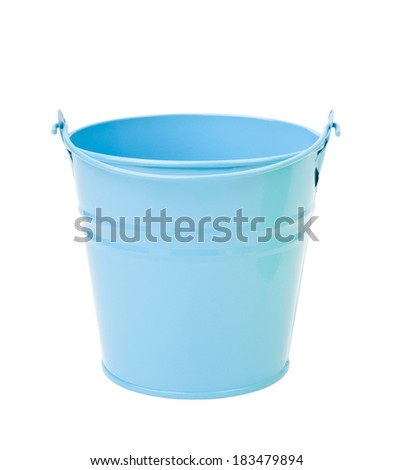 Blue, empty, home gardening bucket - stock photo