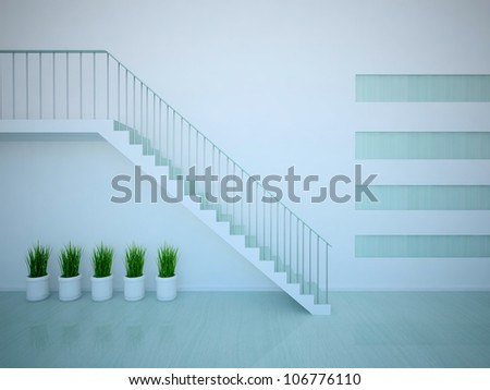blue empty interior with stairs and plants