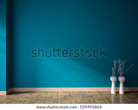 blue empty interior with white vases and branches - stock photo