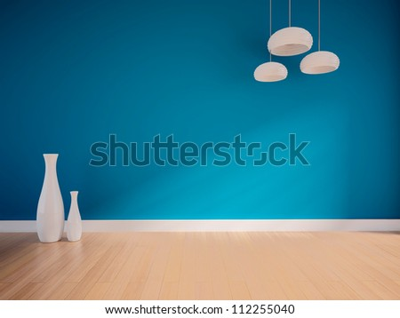 blue empty interior with white vases and lamps - stock photo