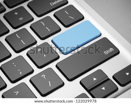 Blue empty keyboard button. 3d render of laptop - stock photo