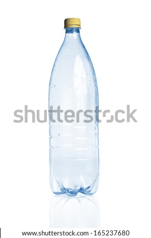 Blue empty plastic bottle and reflection on white background - stock photo