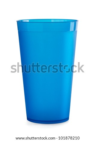 Blue empty plastic cup isolated on white - stock photo