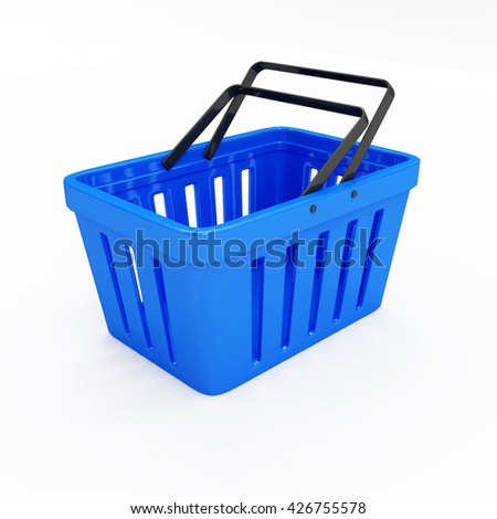 Blue Empty Shopping Basket isolated on white background. 3D Rendering - stock photo