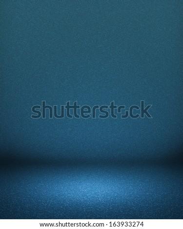 Blue Empty Spotlight Interior Background - stock photo