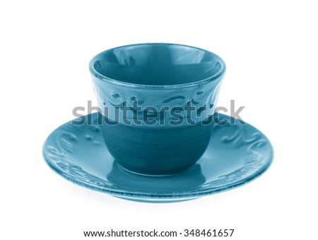 Blue Empty tea cup isolated on white background