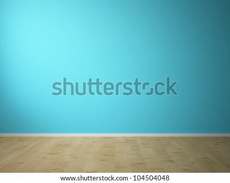 blue empty wall - stock photo