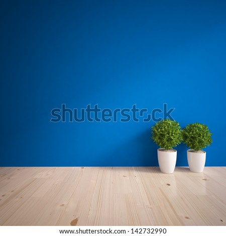 blue empty wall with wooden floor and vases - stock photo