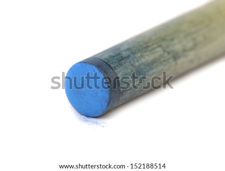 Blue end of wooden cue. - stock photo