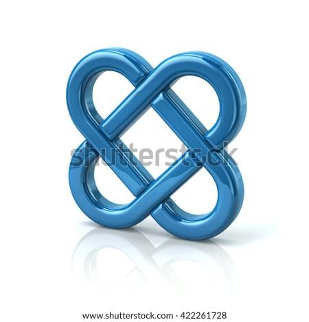 Blue endless knot - stock photo