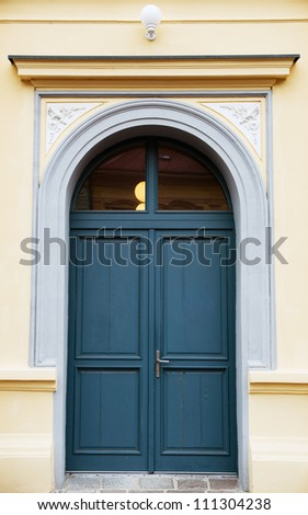 blue entrance door - stock photo