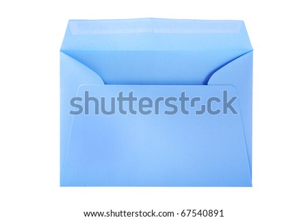 Blue envelope isolated on the white surface with work paths. - stock photo