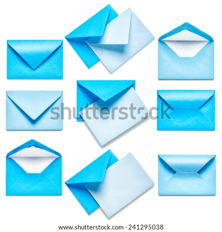 Blue envelopes with card collection isolated on white background - stock photo
