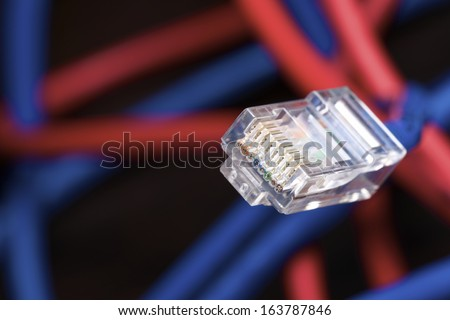 Blue ethernet cable computer and colorful background